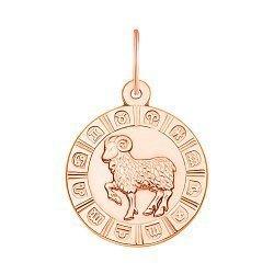 Золотой кулон Знак Зодиака Овен в красном цвете 000119539