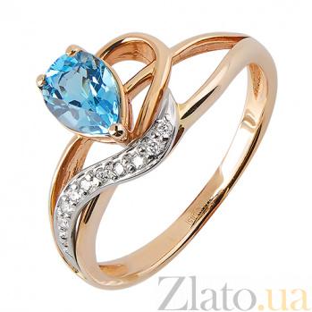Кольцо из красного золота с голубым топазом и бриллиантами Лори TRF--1421373н/топаз