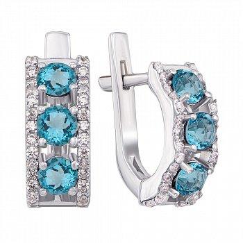 Серебряные серьги с голубыми топазами и фианитами 000012669