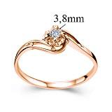 Кольцо из красного золота с бриллиантом Счастливая жизнь, 3,8мм