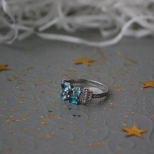 Серебряное кольцо Альпания с голубым кварцем и фианитами