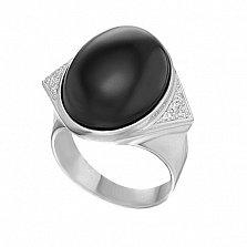 Серебряное кольцо с агатом Тайна ночи
