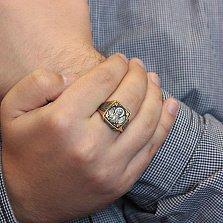 Мужской серебряный перстень-печатка Архангел Михаил  в позолоте с чернением