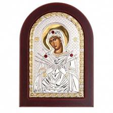Серебряная икона с позолотой Семистрельная в дереве