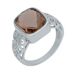 Серебряное кольцо Дебора с султанитом и узорными элементами на шинке