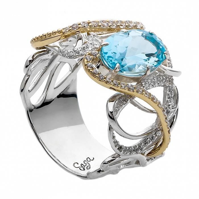 Серебряное кольцо с голубым топазом и золотыми вставками Никса 000030032