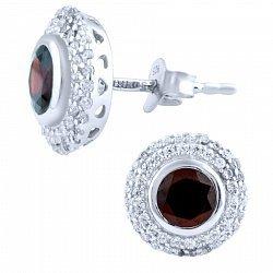 Серебряные серьги с гранатом и фианитами 000055886