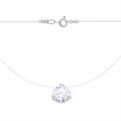 Серебряное колье Шалемия на силиконовой нити с белым фианитом