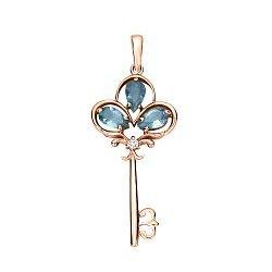 Золотой подвес Чудо-ключик в красном цвете с голубыми топазами и бриллиантом 000021542