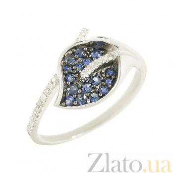 Золотое кольцо с сапфирами и бриллиантами Ленора 1К191-0022