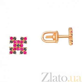 Золотые-серьги-пуссеты с фианитами Народный орнамент 000023062