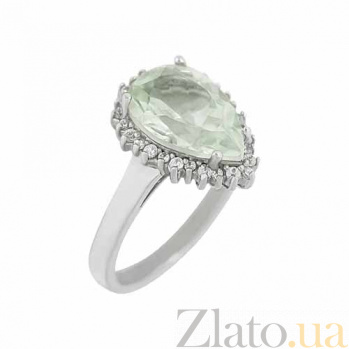 Серебряное кольцо с празиолитом и цирконием Иветта 3К934-0051