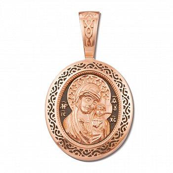 Ладанка из красного золота Казанская Божья Матерь с чернением 000122980