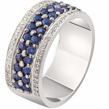 Золотое кольцо с сапфирами и бриллиантами Стефани