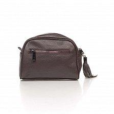 Кожаный клатч Genuine Leather 1828 цвета розовый кофе с передним карманом и молнией
