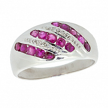 Серебряное кольцо с бриллиантами и рубинами Беатрис