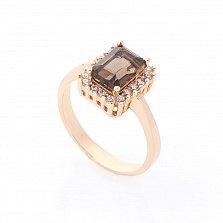 Золотое кольцо Аделина с раухтопазом и фианитами