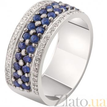 Золотое кольцо с сапфирами и бриллиантами Стефани KBL--К1875/бел/сапф