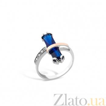 Серебряное кольцо Лисбет с золотой накладкой, синим алпанитом и цирконием 000079105