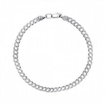 Срібний браслет в плетінні бісмарк 4мм 000118122