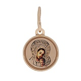 Ладанка в красном золоте Небесная покровительница с эмалью