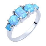 Кольцо из серебра Галия с голубыми опалами