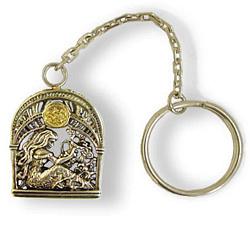 Серебряный брелок Знак зодиака Водолей с позолотой 000004652