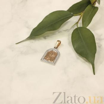 Золотая ладанка Господь Вседержитель в комбинированном цвете с фианитами 000093243