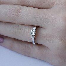 Золотое кольцо Астария в белом цвете с бриллиантами
