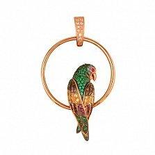 Подвеска из красного золота Попугай с разноцветными фианитами