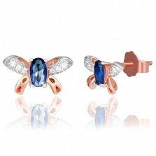 Позолоченные сережки из серебра Легкость мотылька с синим и белыми фианитами