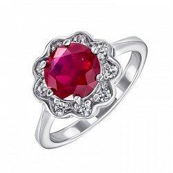 Серебряное кольцо с рубином и фианитами 000133752