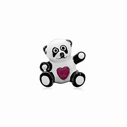 Серебряная подвеска-шарм Любимая панда с эмалью и имитацией рубина