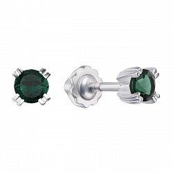 Серебряные серьги-пуссеты с зеленым кварцем 000133196