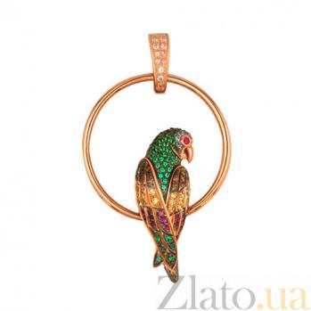 Подвеска из красного золота Попугай VLT--ТТ3391-2