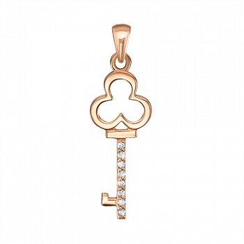 Подвеска-ключик из красного золота с бриллиантами 000131155