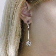 Серебряные серьги-подвески Планета с кристаллами циркония