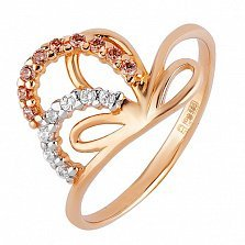 Золотое кольцо  из красного золота Увертюра
