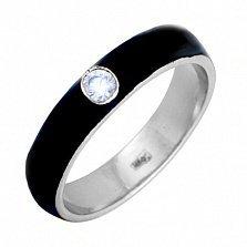 Золотое кольцо Пастель с фианитом и эмалью чёрного цвета