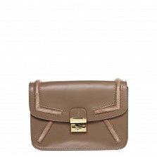 Кожаный клатч Genuine Leather 1603 цвета тауп с металлическим замком и плечевым ремнем