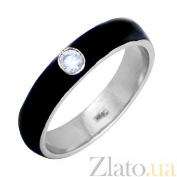 Золотое кольцо Пастель с фианитом и эмалью чёрного цвета К220бел/чёр