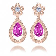 Серьги из розового золота Эдем: Цвет аромата с аметистами и бриллиантами
