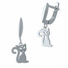 Серебряные серьги-подвески Кошечки