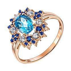 Кольцо из красного золота с голубым топазом, синими и белыми фианитами 000137319