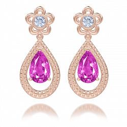 Серьги из розового золота Эдем: Цвет аромата с аметистами и бриллиантами 000058163