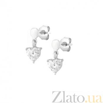 Серебряные сережки с фианитами Lovely things SLX--С2Ф/476