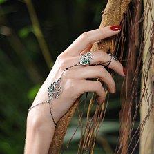 Серебряный браслет-слейв Семирамида с зелеными и белыми фианитами