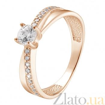 Кольцо из красного золота с фианитами Илана 000023143