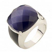 Серебряное кольцо Бенедикта с синим кошачьим глазом и черным ониксом