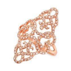 Кольцо из красного золота с цирконием 000123529